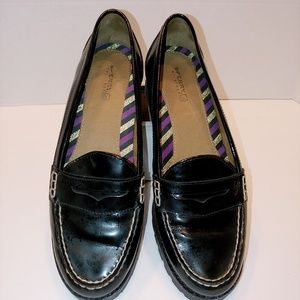 Sperry Topsider black patent leather penny loafers
